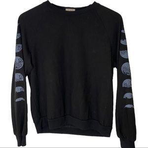PST Black Phases of the Moon Long Sleeve Pullover